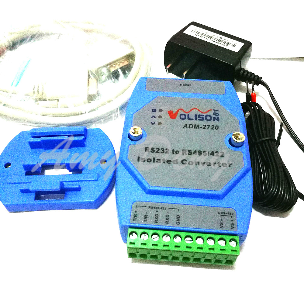 Isolated active RS232 to RS485 RS422 converter 232 to 485 industrial lightning protection rail