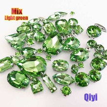 Sell at a loss! 50pcs/bag high quality mixed shape light green glass sew on claw rhinestones,diy clothing accessories SWM015