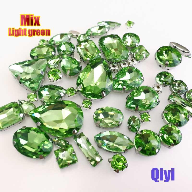 Vendre à perte! 50 pcs/sac de haute qualité forme mixte vert clair en verre coudre sur griffe strass, bricolage vêtements accessoires SWM015