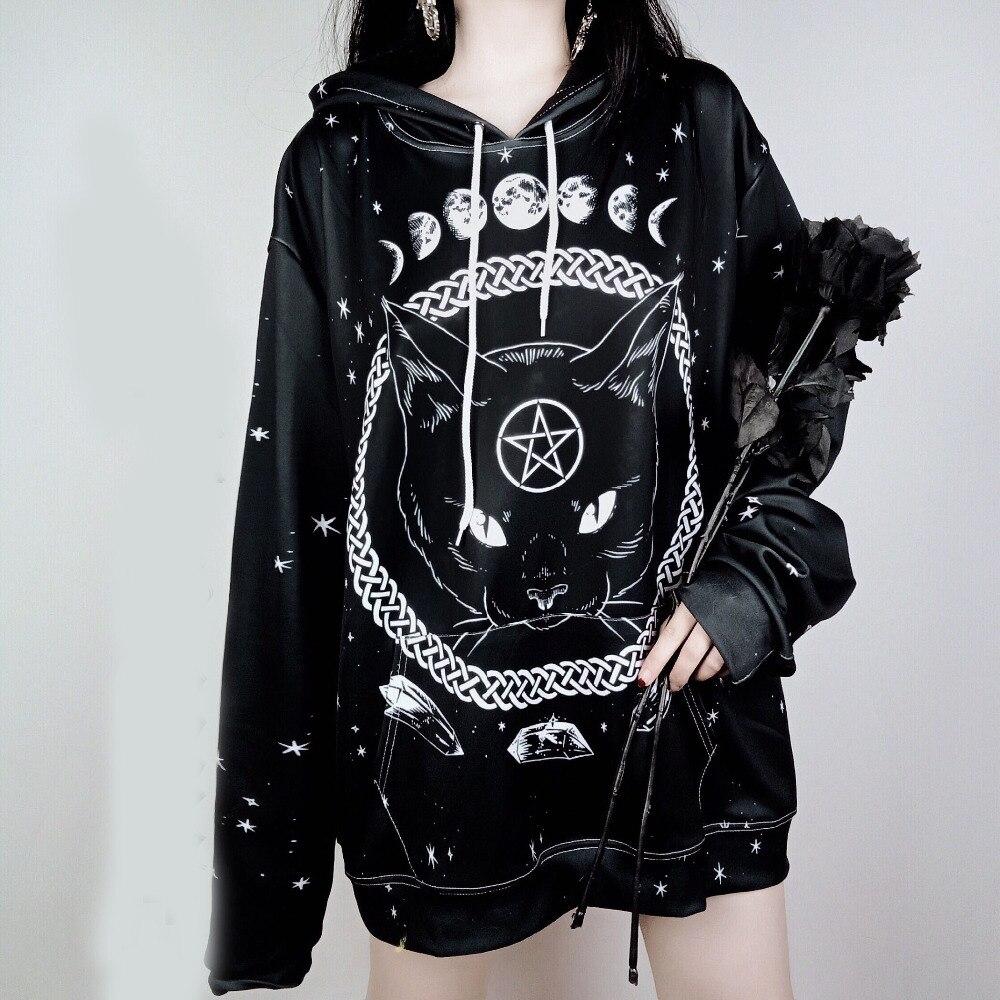Übergroßen Harajuku Unisex Hoodies Gothic Mond Phase Sternen Muster Hexerei Katze Gedruckt Frauen Männer Lose Sweatshirts Plus Größe