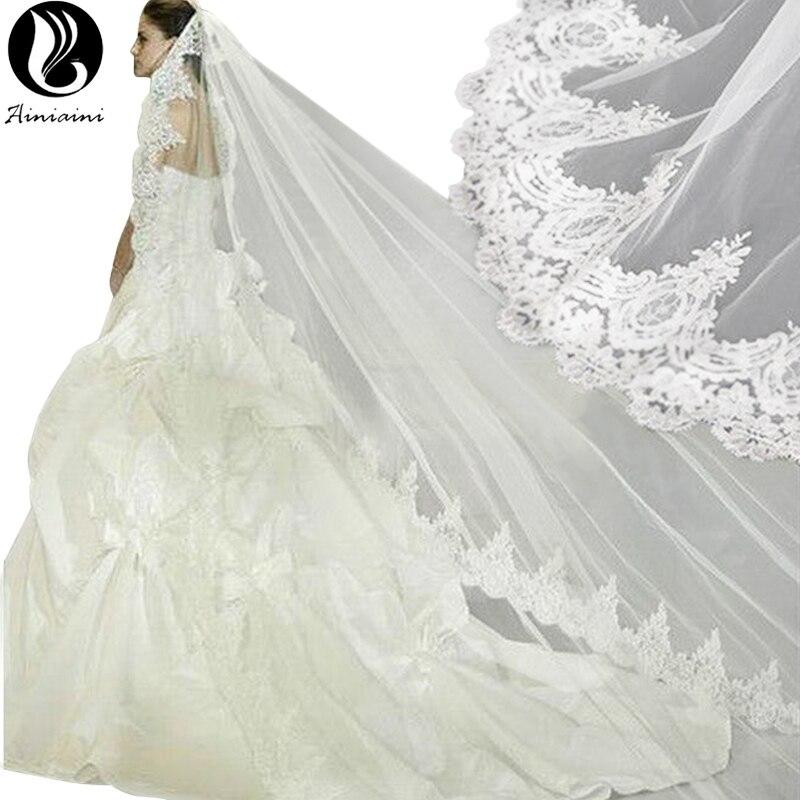 Veu De Noiva Longo Com Renda One Layer  Meter Veil Wedding Retro Lace Bridal Veil Cathedral Wedding Veils Top Quality Bv In Bridal Veils From Weddings