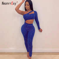 Neonrrexy Sexy Diamond Hollowed out Blue One piece Jumpsuit Women One Shoulder Skinny Jumpsuit Rompers Overalls