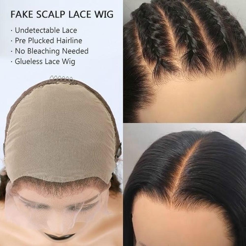 Поддельные головы Невидимый узел 13x6 кружева спереди коричневый парик отбеленные узлы предварительно сорванные прямые человеческие волосы спереди кружева длинные парики Remy 150 - 2