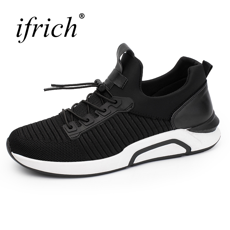 New Mens Sneakers Breathable Shoes Spring Summer Walking Sneakers Black Gray Mens Mesh Cheap Sport Trainers