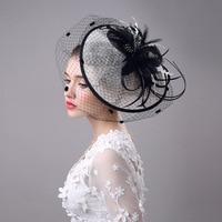 Kadın Fascinator Çiçek Tüy Bandı Hairclip Vintage Fransız Peçe Kokteyl Şapka Parti Gelin Saç Aksesuarları H9