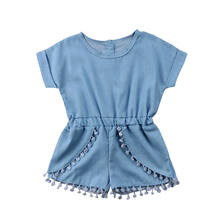Casual Toddler Baby Girl Tassel Romper Denim Jumpsuit Short Sleeves Playsuit Summer Clothes(China)