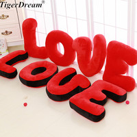 Free Shipping One Piece Creative Letter Love Plush Pillow Cushion Red Pink Soft PP Cotton Stuffed Toys Bedroom Decoration