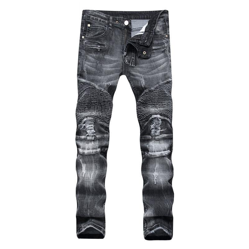 2019 décontracté pli noir et gris dans la taille jeans mode couture tube droit réparation moto cassé jeans pantalon