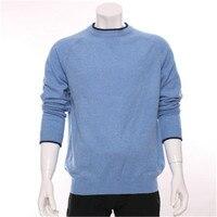 100% козья кашемир Oneck вязать мужчины модные тонкий пуловер свитер H прямые контраст цвета края S/2XL