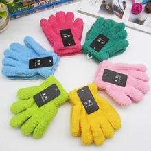 Разноцветные Милые перчатки для мальчиков и девочек; перчатки для рук; теплые зимние Бархатные перчатки; Прямая поставка