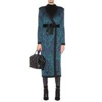 wholesale New Woolen coat Blue Jacquard Long sleeve Belt decoration fashion cocktail party bandage Woolen coat (H2266)