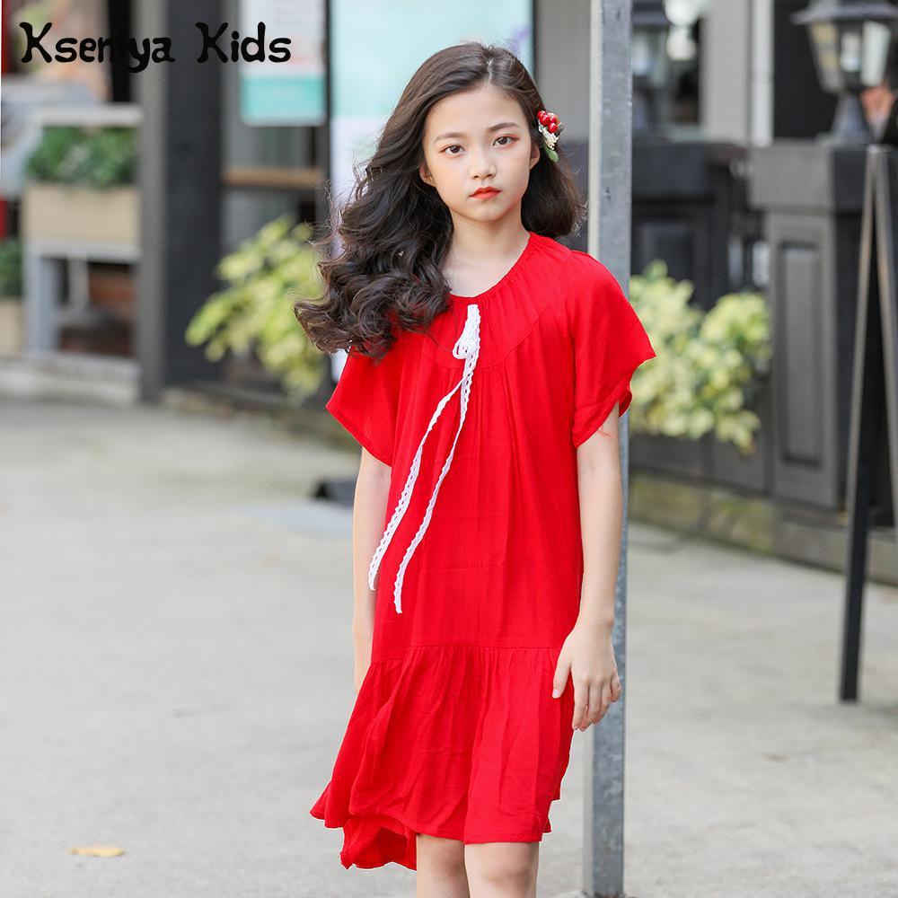 Kseniya Kids Big Girls Red Bohemian Tiered Beach Asymmetrical Dress Summer Girl Chiffon Princess Dresses Age 13 Clothing Brand