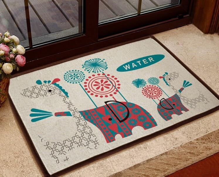 Flannel Elephant Front door mat/ bathroom mat/ soft warm water absorption Elephant carpet with anti-slip back 40*60cm