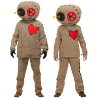 Burlap Voodoo Doll Costume Children Suit Set Christmas Carnival Fancy Parent Child Uniform Clothing Kids And