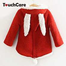 Baby Girls Wool Sweater With Rabbit Ears And Cherry Children Outwear Girls Winter Lambs Sweet Cute Girls Coat
