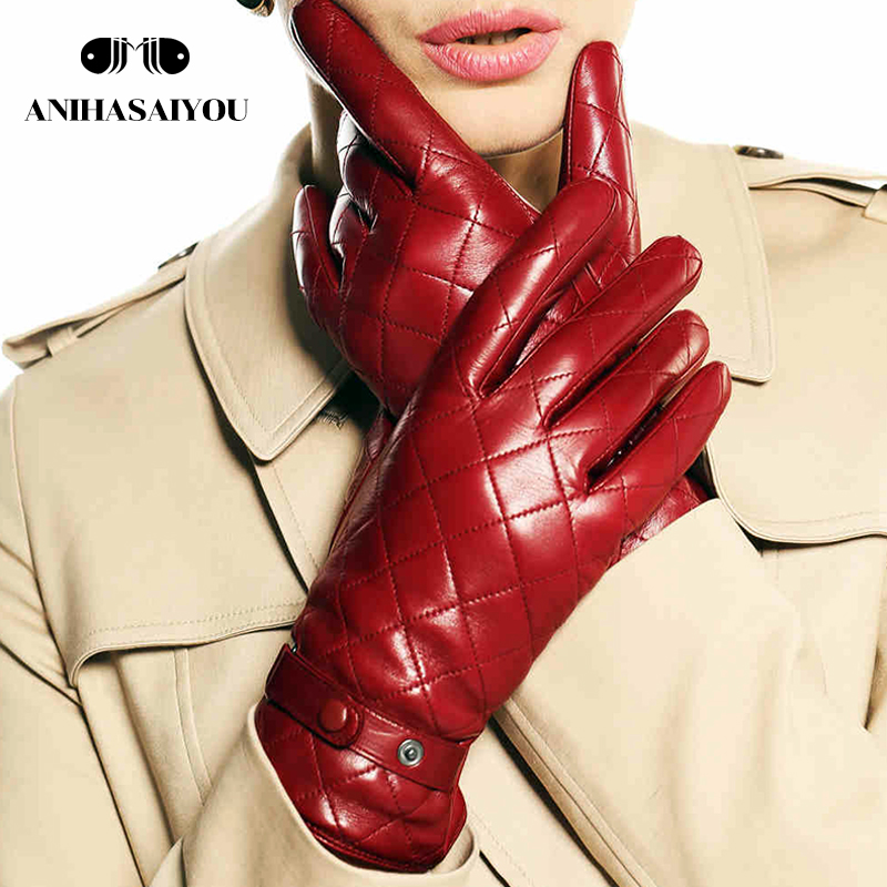 Warm winter women leather gloves embroidered square short warm genuine leather winter gloves women sheepskin gloves L121NC