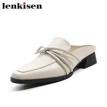 ba8906b61b61 Lenkisen 2018 vente chaude vache en cuir plus la taille carré toe slip sur  classique arc-noeud faible talons coréenne filles mul.