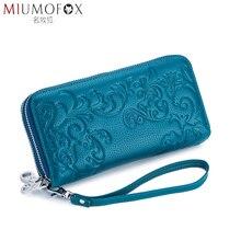 Billetera de mano larga con doble cremallera para mujer, bolso de mano grueso de gran capacidad, a la moda, de cuero de vaca genuino Rfid