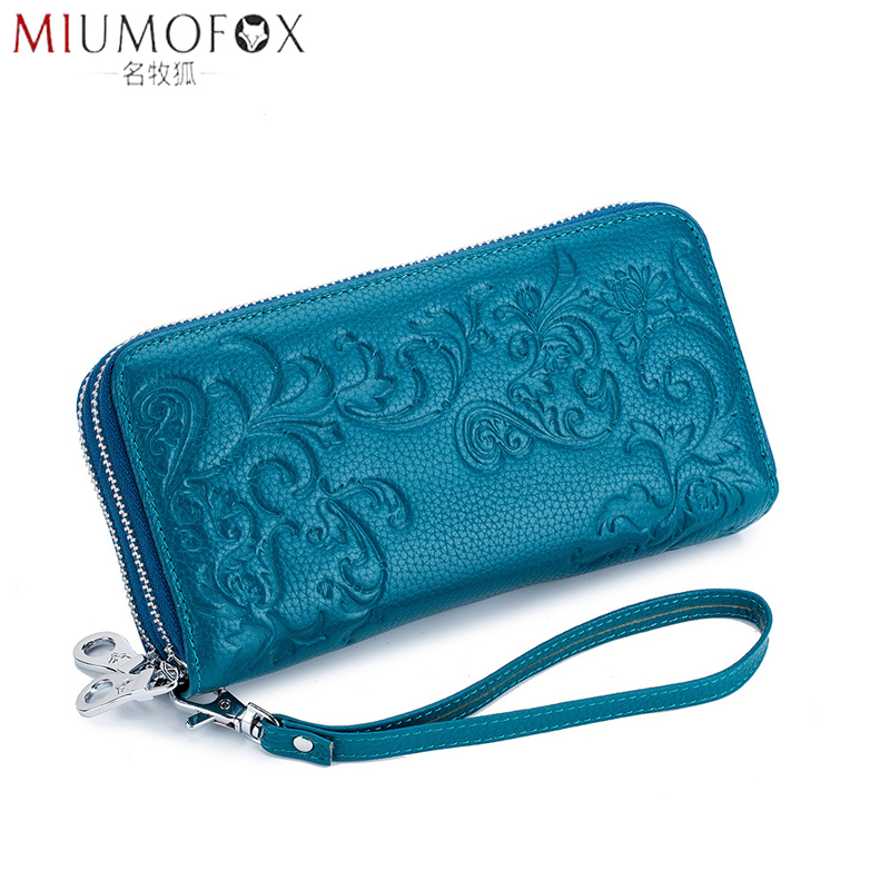Double Zipper Wristband Long Clutch Wallets for Women Large Capacity Thick Purse Fashion Wristlet Bag Rfid Genuine Cow Leather image