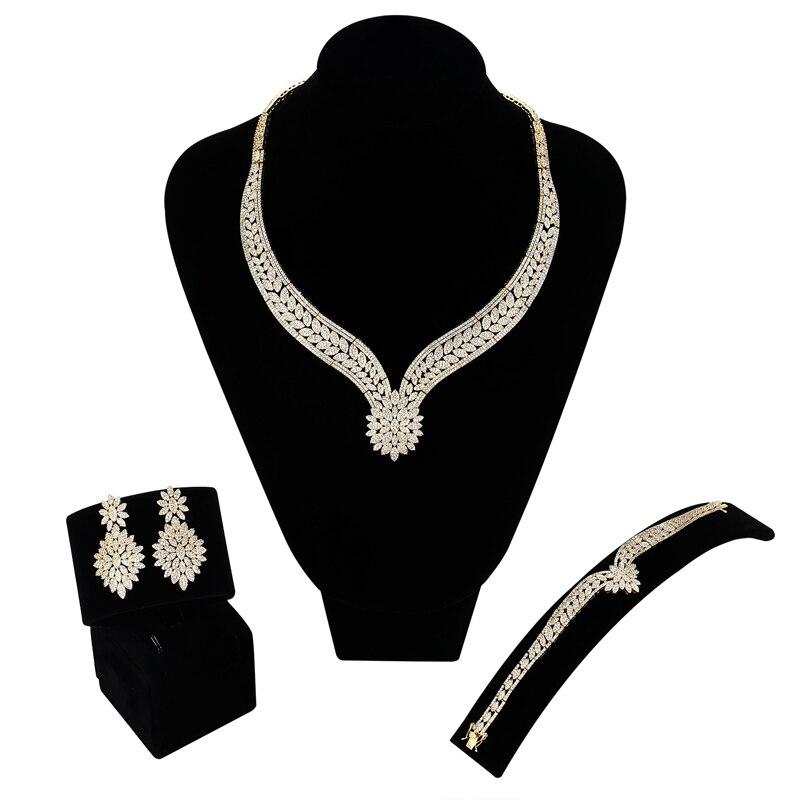 Luxury Women bridal Jewelry Sets setting Cubic zircon 4pcs sets ( necklace + bracelet + earrings + ring) free drop shippingLuxury Women bridal Jewelry Sets setting Cubic zircon 4pcs sets ( necklace + bracelet + earrings + ring) free drop shipping