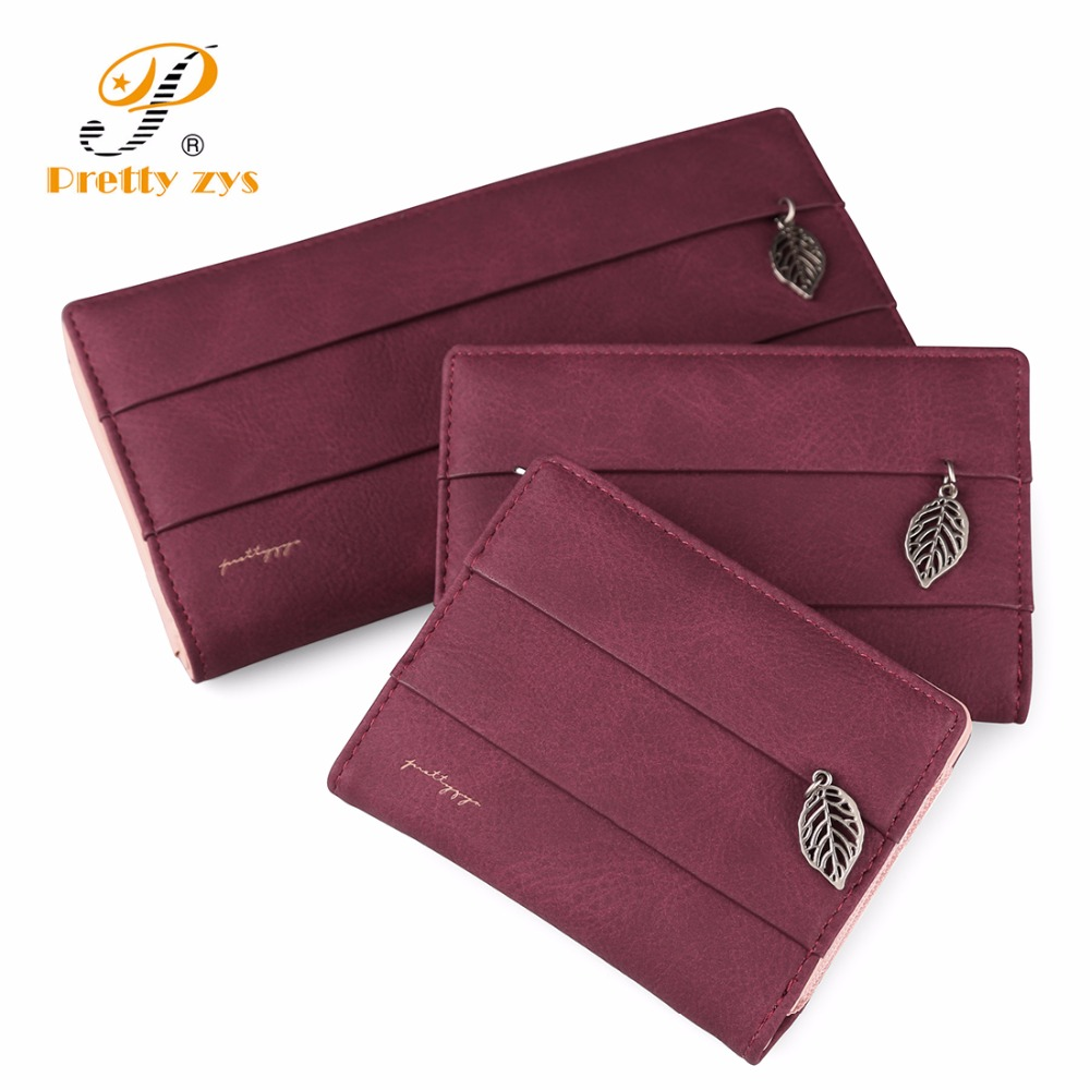 3 SIZE Brand New Women Leaf Hasp Wallet Fashion Short Long Leather Coin Purses Card Holders Girls Money Phone Clutch Carteras