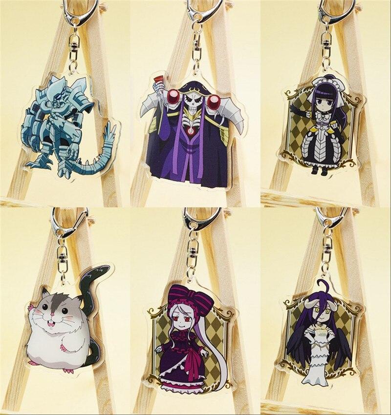 Anime Overlord Momonga Albedo Hamusuke Narberal Gamma Keychain Keyring Toy Halloween Cosplay Keyring Christmas Gift