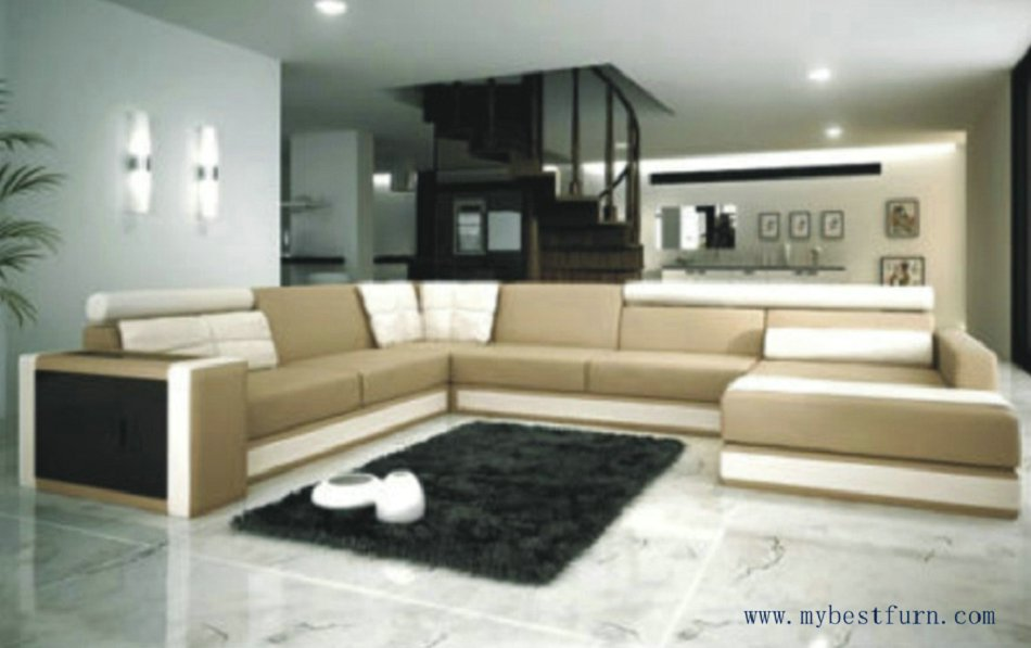 buy free shipping moden leather sofa 2 color u shaped villa sofa set best. Black Bedroom Furniture Sets. Home Design Ideas