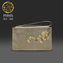 Pmsix 2017 new leather printing handbag zipper purse small mobile phone bag gold wallet purse P420039