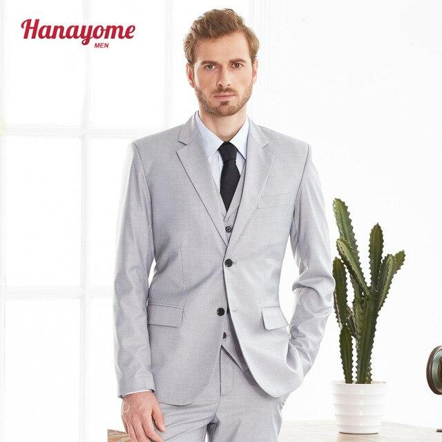 Hanayome Mens 3 Piece Grey Suit Jackets Vest Pants Suits 2018 Formal