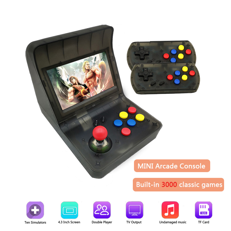 4.3 Inch Screen Game Player Mini TV Output Retro Game Console Double handle with Rocker Arcade Host built-in 3000 Classic Games стоимость