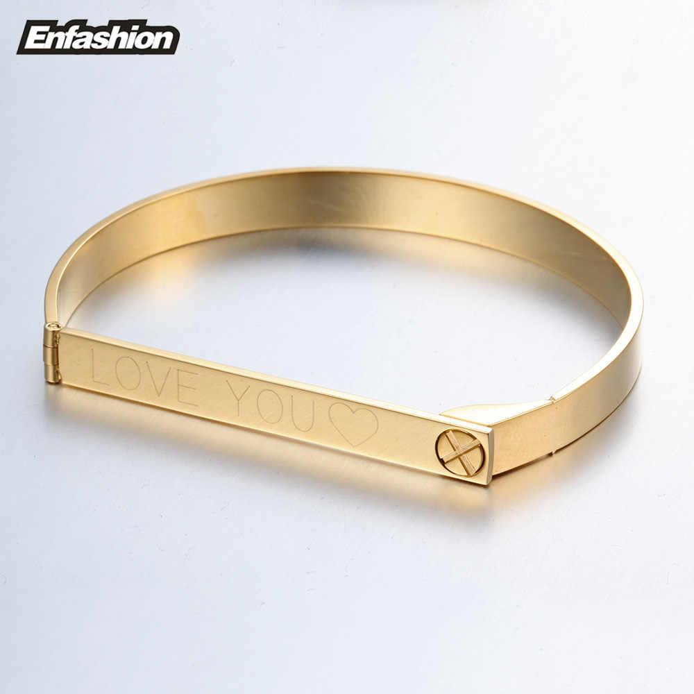 Enfashion spersonalizowane grawerowane bransoletka z imieniem złoty kolor Bar śruba bransoletka miłośników bransoletki dla kobiet mężczyzn bransoletki mankietów bransoletki