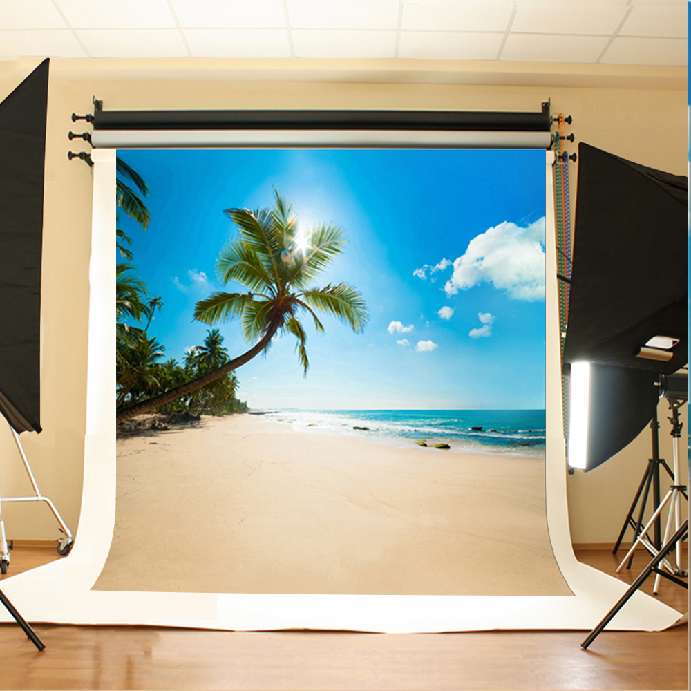 Wedding Photography Background Blue Sky White Clouds Photo Booth Backdrops Sea Sunny Beach Background for Photographic Studio blue sky white clouds beach coconut tree backdrops fotografia fundo fotografico natal background photograph