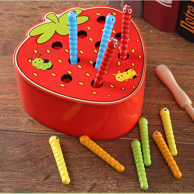Baby Education Children Wooden Model Toys Catch Insects Worm Game 3D Puzzles Jigsaw Fruit Vegetables Learning