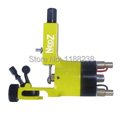 FreeShipping Professional NEDZ Style Rotary Tattoo Machine Yellow Permanent Makeup machine Gun Liner&Shader Cheap Machine Supply 1set pro neuma style rotary tattoo gun machine for shader