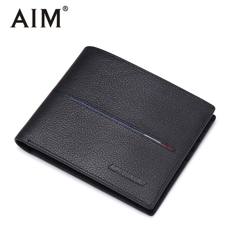AIM Men Wallets Genuine Leather Short Male Purse Small Fashion Walet Men's Purse Card Holder Wallets For Men  Q223 aim mens small wallet 100% genuine leather men purse male compact slim short wallets for men cowhide card holder carteira a292