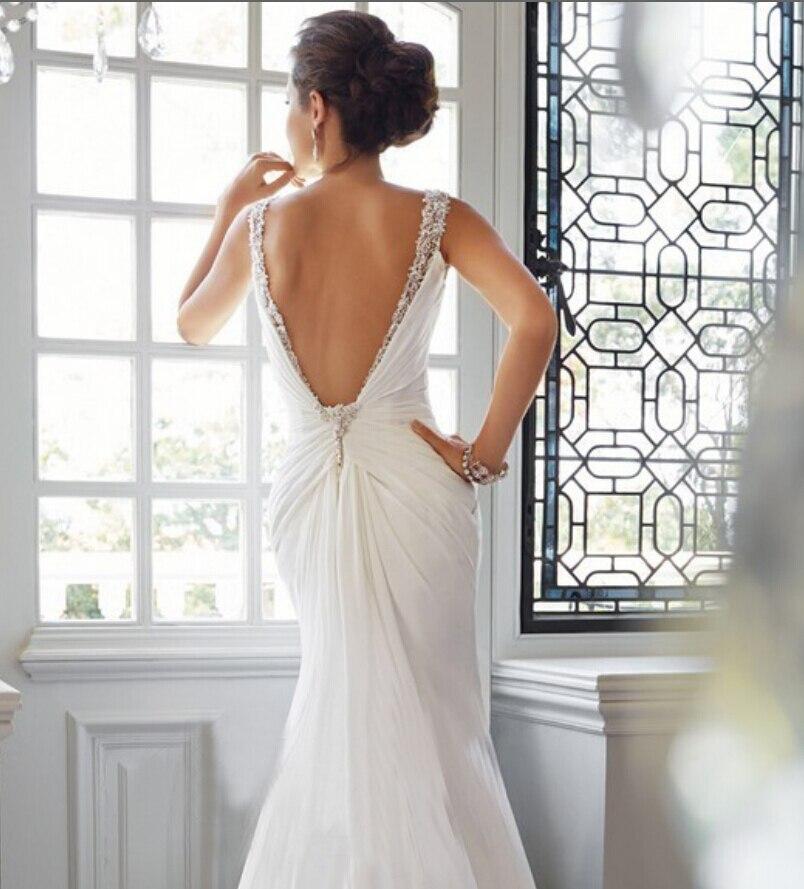 47b8f947875f BF470 V Neck Spaghetti Straps Pleat Chiffon Wedding Mermaid Dresses 2016  With Long Train Beaded Crystals Bridal Gowns Cheap-in Wedding Dresses from  Weddings ...