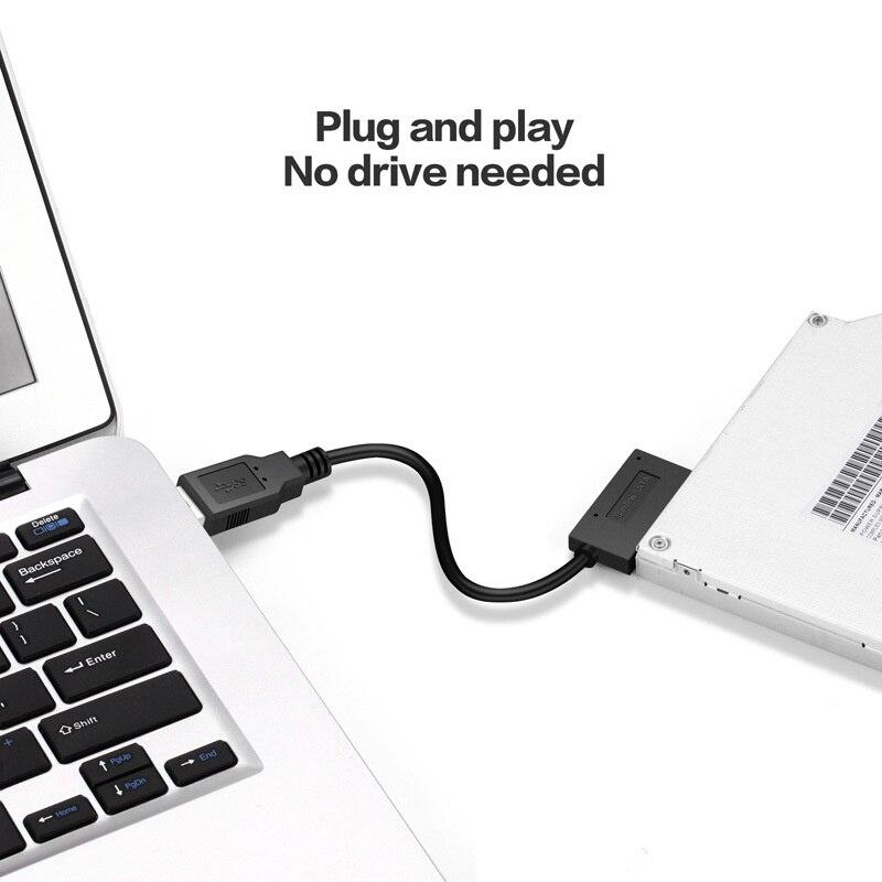 USB 2,0 для Mini Sata II 7 + 6 13Pin адаптер конвертер кабель для ноутбука CD/DVD ROM Slimline Drive