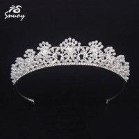 Snuoy Ozdoby Do Włosów White Pearl Biżuteria Ślubna Dla Nowożeńców Tiara Dla Kobiet Rhinestone Srebrny Księżniczka Hairband Akcesoria