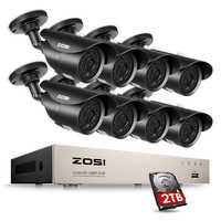 ZOSI HD-TVI 8CH 1080P DVR Kit 2.0MP système de caméras de sécurité 8*1080P jour nuit Vision CCTV sécurité à domicile avec 2 to HDD