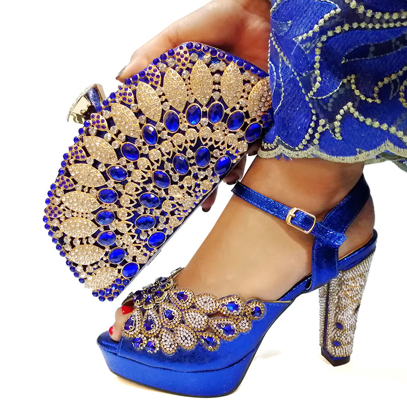 Latest Design Matching Shoes and Bags for African Weddings African Shoe and Bag Set for Party In Women Blue Italy Shoes Bag Set