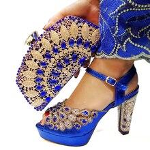 O mais recente design combinando sapatos e sacos para casamentos africanos sapato e bolsa conjunto para festa em azul feminino itália sapatos bolsa conjunto