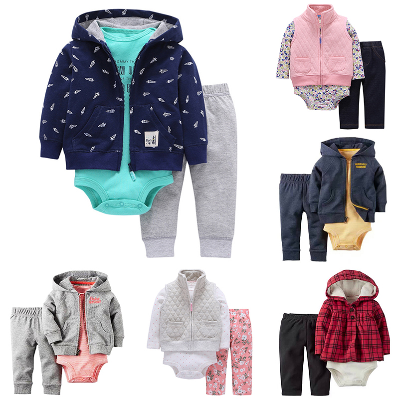 Baby Boys Clothing Sets Animal Hooded Coat+Long Sleeve Print Rompers+Pants 3 Pieces Baby Girls Clothes 6M-24M Bebes Costume baby bodysuits girls clothes boys 2018 fashion cute animal bear one pieces body wool hooded newborn baby clothing sets bo047