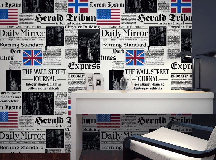 junran Simple personality American newspaper English letters wallpaper bar cafe restaurant PVC wall paper 3D wallpaper