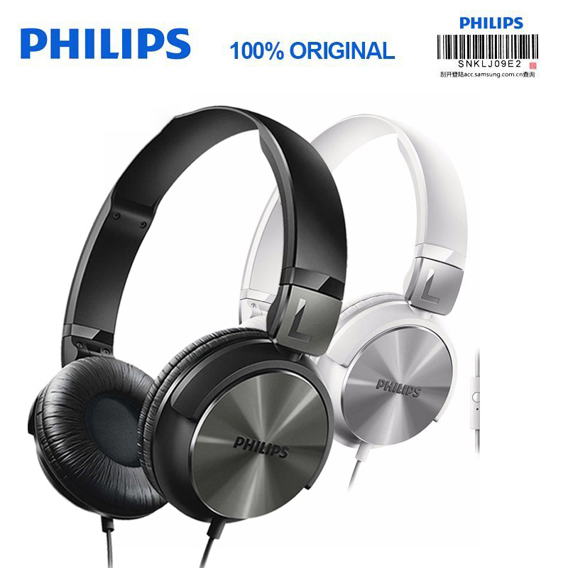 Original Philips SHL3165 Bass Wired Headphone Foldable Wire control With microphone Professional DJ monitor headphones for S9