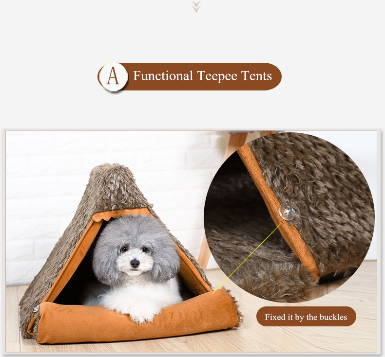 Autumn New Cat Small Dog Cave House Tepee Tents Short Plush Peacock Velvet Multinational Cat Bed Mats (9)