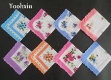 10pcs/lot Vintage white Ladies lace Handkerchief Cotton silk Flowers Women hanky children kids print hand towels wedding Gifts