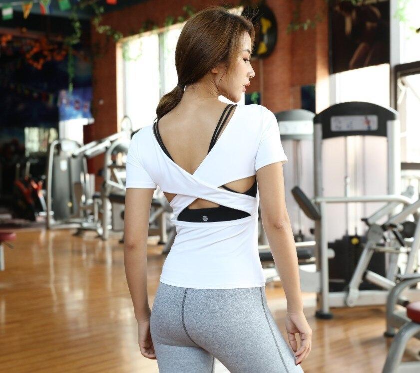 Acheter Femmes Gym Yoga Chemise Dos Nu Sport Chemises À Manches Courtes Sport de Course Gilet Gym Débardeur Femme fitness Workout shirts de Sport de Chemises de yoga fiable fournisseurs