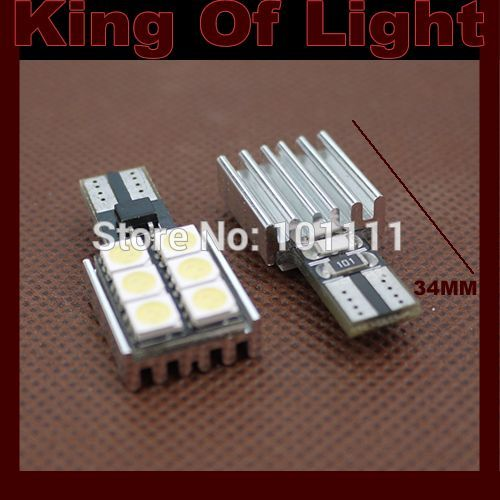 2x led Car styling lighting 194 W5W 6smd T10 wedge 6 led smd 5050 canbus obc error free no error Free shipping