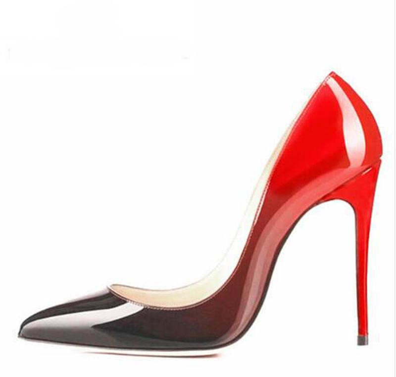 High Quality Women Black/Red Patent Leather Gradient Color Pumps Classical Style 10cm 12cm High Heels Formal Dress Shoes