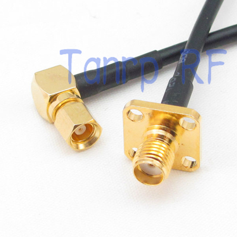 6in SMC male right angle  to SMA female with 4 hole panle RF connector adapter 15CM Pigtail coaxial jumper RG174 extension cable